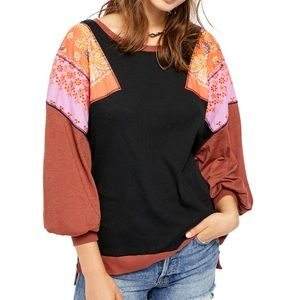 Free People Feeling It Long Sleeve Patchwork Top